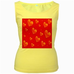 Red Hearts Women s Yellow Tank Top
