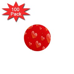 Red Hearts 1  Mini Magnets (100 pack)