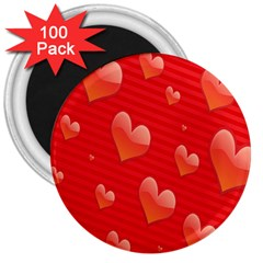 Red Hearts 3  Magnets (100 pack)