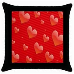 Red Hearts Throw Pillow Case (Black)