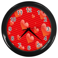 Red Hearts Wall Clocks (Black)
