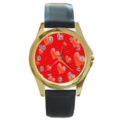 Red Hearts Round Gold Metal Watch