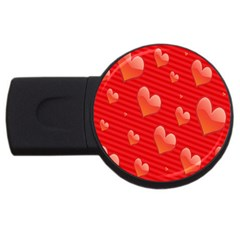 Red Hearts USB Flash Drive Round (2 GB)