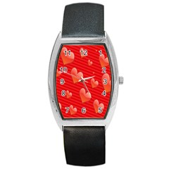 Red Hearts Barrel Style Metal Watch