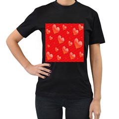 Red Hearts Women s T-Shirt (Black) (Two Sided)