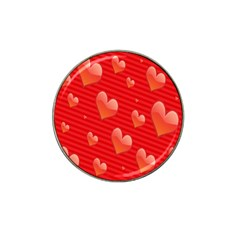 Red Hearts Hat Clip Ball Marker (4 Pack)