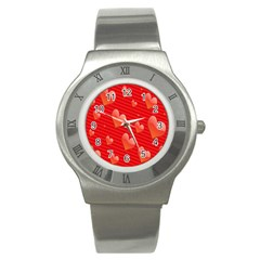Red Hearts Stainless Steel Watch