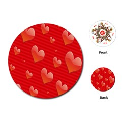 Red Hearts Playing Cards (Round)