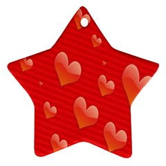 Red Hearts Star Ornament (Two Sides)