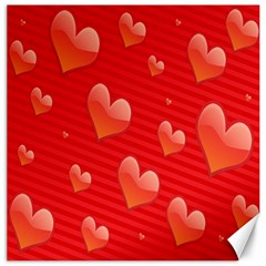 Red Hearts Canvas 16  x 16