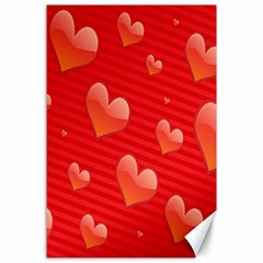 Red Hearts Canvas 24  X 36