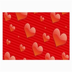 Red Hearts Large Glasses Cloth