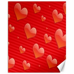 Red Hearts Canvas 11  x 14
