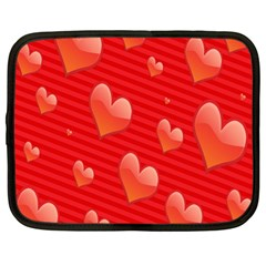 Red Hearts Netbook Case (Large)