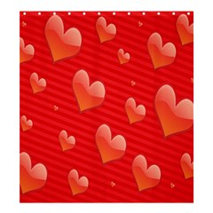 Red Hearts Shower Curtain 66  x 72  (Large)