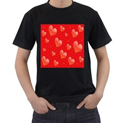 Red Hearts Men s T-Shirt (Black)