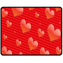Red Hearts Fleece Blanket (Medium)