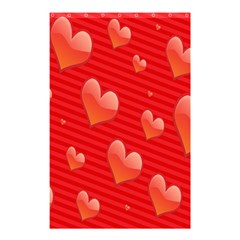 Red Hearts Shower Curtain 48  x 72  (Small)