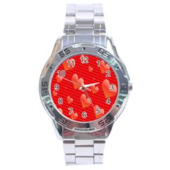 Red Hearts Stainless Steel Analogue Watch