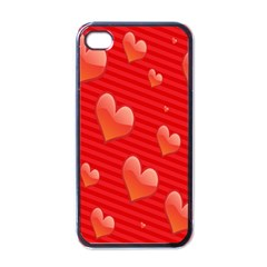Red Hearts Apple iPhone 4 Case (Black)
