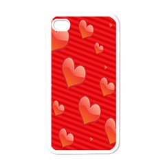 Red Hearts Apple iPhone 4 Case (White)