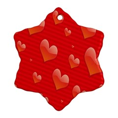 Red Hearts Ornament (Snowflake)