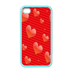 Red Hearts Apple Iphone 4 Case (color)