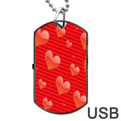 Red Hearts Dog Tag USB Flash (Two Sides)