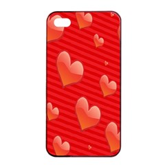Red Hearts Apple iPhone 4/4s Seamless Case (Black)