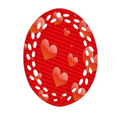 Red Hearts Oval Filigree Ornament (Two Sides)