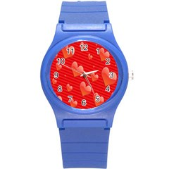 Red Hearts Round Plastic Sport Watch (S)