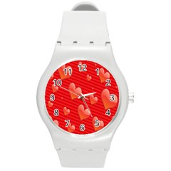 Red Hearts Round Plastic Sport Watch (M)