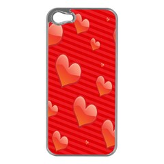 Red Hearts Apple iPhone 5 Case (Silver)
