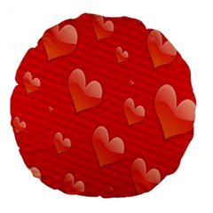 Red Hearts Large 18  Premium Round Cushions