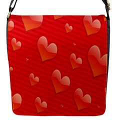 Red Hearts Flap Messenger Bag (S)
