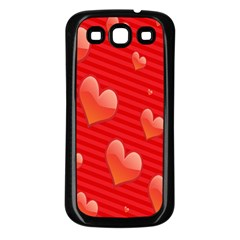Red Hearts Samsung Galaxy S3 Back Case (Black)