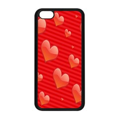 Red Hearts Apple Iphone 5c Seamless Case (black)