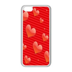 Red Hearts Apple iPhone 5C Seamless Case (White)
