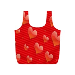 Red Hearts Full Print Recycle Bags (S)