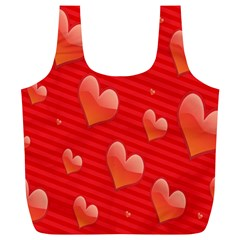 Red Hearts Full Print Recycle Bags (L)