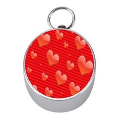 Red Hearts Mini Silver Compasses