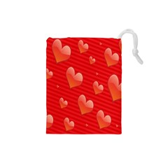 Red Hearts Drawstring Pouches (Small)