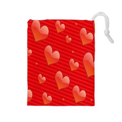 Red Hearts Drawstring Pouches (Large)