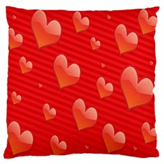 Red Hearts Large Flano Cushion Case (One Side)