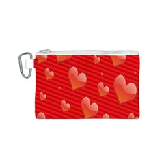 Red Hearts Canvas Cosmetic Bag (S)