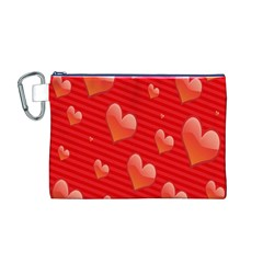 Red Hearts Canvas Cosmetic Bag (M)