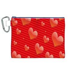 Red Hearts Canvas Cosmetic Bag (xl)