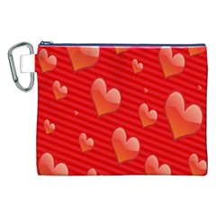 Red Hearts Canvas Cosmetic Bag (XXL)