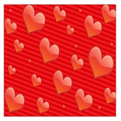Red Hearts Large Satin Scarf (square)