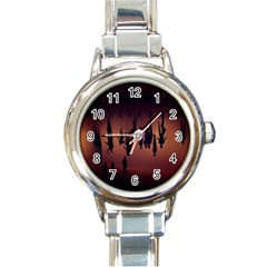 Silhouette Of Circus People Round Italian Charm Watch